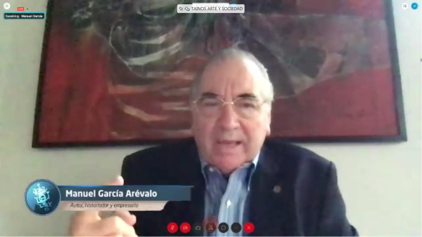 """El empresario e historiador Manuel García Arévalo autor del libro Taínos, arte y sociedad"""" durante el conversatorio del Popular."""