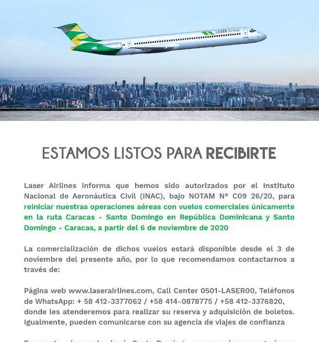 República Dominicana entre los cuatro países que tendrán vuelos comerciales desde Venezuela