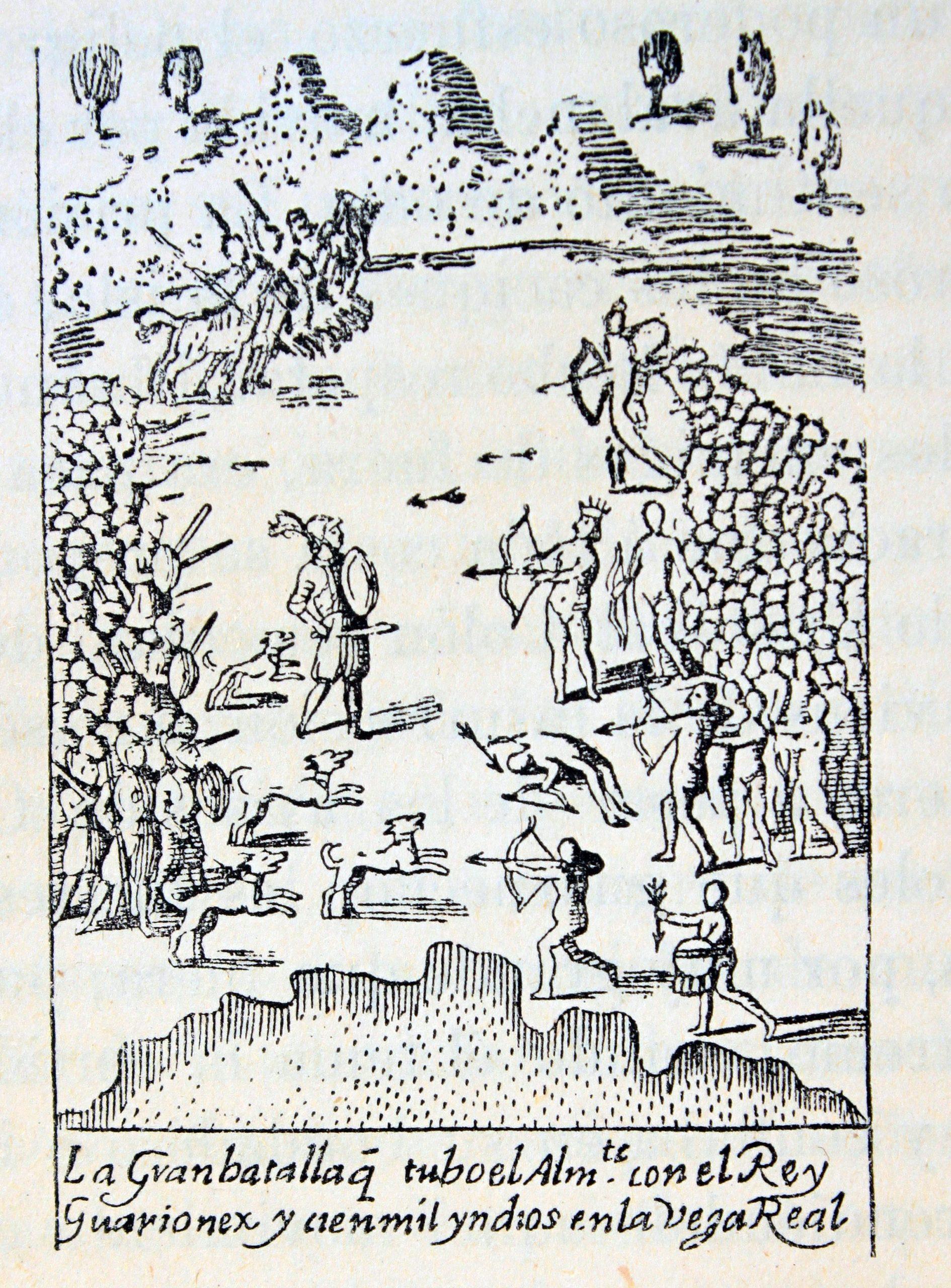 Fresco que ilustra la batalla del Santo Cerro entre españoles y taínos