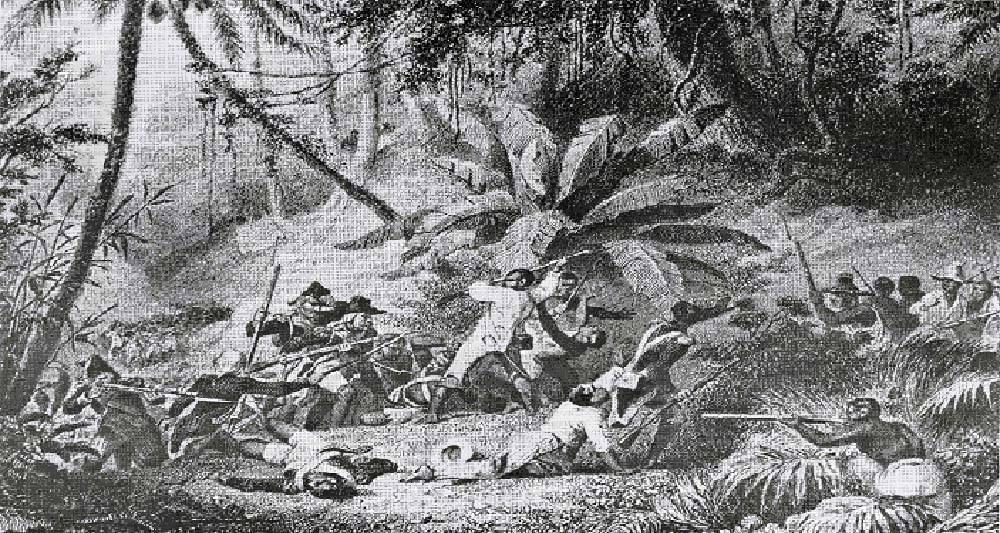 Fresco sobre la Batalla de la Sabana Real o de la Limonade entre españoles y franceses. Fuente Historia Dominicana en Gráficas.