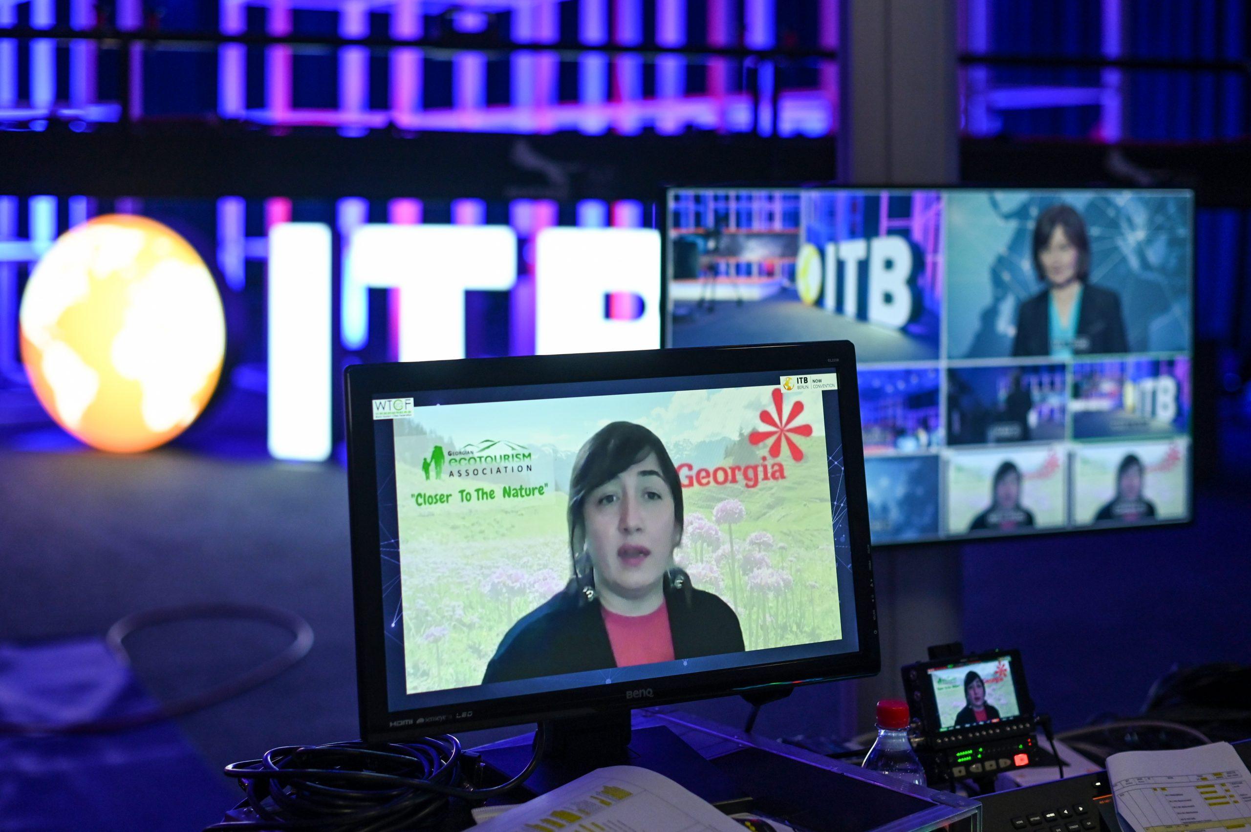 Participación virtual en la ITB desde Georgia con Natia Muladze, jefa de administración del Parque Nacional Borjomi-Kharagauli.